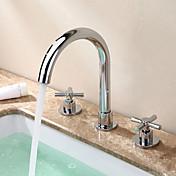 現代風 / 近代の 組み合わせ式 ワイドspary with  セラミックバルブ 二つのハンドル三穴 for  クロム , 浴槽用水栓 / バスルームのシンクの蛇口