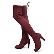 女性-カジュアル パーティー-レザーレット-チャンキーヒール-ファッションブーツ-ブーツ-ブラック ブルー ブラウン グレイ バーガンディー カーキ