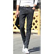Masculino Jeans Casual Cor Solida Algodão Preto