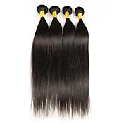 人毛 ブラジリアンヘア 人間の髪編む ストレート ヘアエクステンション 4個 ブラック