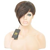 sin tapa corto cabello humano pelucas pelucas rectas cortas hiar brasileños para las mujeres de color negro 1b