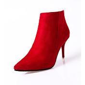 Mujer Tacones Confort Botas de Combate Cachemira Invierno Casual Paseo Confort Botas de Combate Cremallera Tacón Stiletto Negro Rojo7'5 -