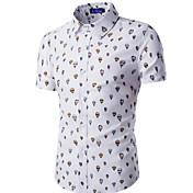 男性 カジュアル/普段着 夏 シャツ,シンプル シャツカラー 幾何学模様 ブルー / ホワイト コットン 半袖 薄手