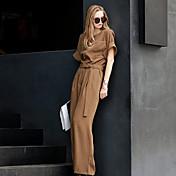 婦人向け シンプル ポリエステル ジャンプスーツ,伸縮性なし 半袖