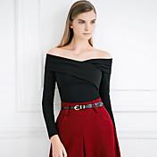 Mujer Sexy / Simple Noche Primavera / Otoño Camiseta,Escote Barco Un Color Manga Larga Algodón Rojo / Negro Opaco