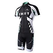 ショーツ付きサイクリングジャージー 男性用 半袖 バイク 洋服セット 速乾性 後ポケット ポリエステル ポリエステル100% 縞柄 夏 サイクリング/バイク ブラック