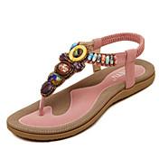 Mujer Zapatos PU Primavera Verano Otoño Mary Jane Sandalias Paseo Tacón Plano Puntera abierta Con Pedrería Perla de Imitación Hebilla Para