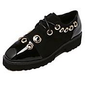 MujerConfort-Oxfords-Casual-Cuero Patentado-Negro