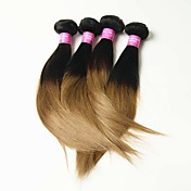Cabello humano Cabello Malayo Ombre Liso Extensiones de cabello 4 Piezas Negro / Strawberry Blonde