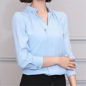 Mujer Sexy Trabajo Formal Otoño Camisa,Escote en Pico Un Color Manga Larga Poliéster Medio