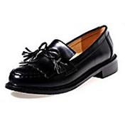 MujerConfort-Zapatos de taco bajo y Slip-Ons-Casual-PU-Negro / Bermellón