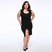Feminino Evasê Vestido,Casual / Tamanhos Grandes Simples Sólido Decote Redondo Altura dos Joelhos Sem Manga Preto Algodão OutonoCintura