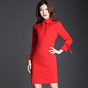 Mujer Vaina Vestido Casual/Diario Simple,Un Color Escote Chino Sobre la rodilla Manga Larga Rojo Poliéster Otoño / Invierno Tiro Medio