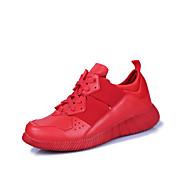 Hombre-Tacón Plano-Suelas con luz-Zapatillas de deporte-Informal-PU-Negro Rojo Blanco