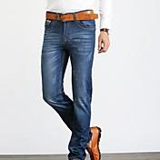 Hombre Corte Ancho / Corte Recto Vaqueros Pantalones,Un Color Casual/Diario Sencillo Tiro Alto Cremallera Algodón Micro-elásticaCon