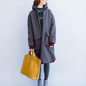 女性 カジュアル/普段着 冬 ソリッド コート,シンプル グレイ コットン 長袖 厚手