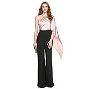 Sereia Assimétrico Longo Poliéster Charmeuse Evento Formal Vestido com Drapeado Lateral de TS Couture®