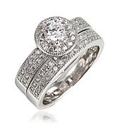 指輪 キュービックジルコニア ゴールドメッキ 18K 金 ホワイト レッド グリーン ブルー ジュエリー 結婚式 パーティー 日常 カジュアル 1個