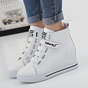 Mujer-Tacón Cuña-Confort-Zapatillas de deporte-Casual-Cuero de Napa-Negro / Blanco