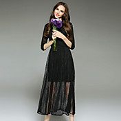女性 シンプル カジュアル/普段着 スウィング ドレス,刺しゅう ラウンドネック ミディ 長袖 ブラック ポリエステル 秋 ミッドライズ 伸縮性なし ミディアム