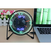 ノベルティ柄 Clock Fan with Floating LED Timeand  Temperature  Display 130cm 145*168*115 ブラック