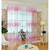 ワンパネル ウィンドウトリートメント 現代風 , フラワー キッズルーム ポリ/コットン混 材料 シアーカーテンシェード ホームデコレーション For 窓