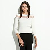 Mujer Regular Pullover Casual/Diario Simple,Un Color Blanco Negro Escote Barco Manga Larga Algodón Primavera Medio Microelástico