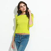 Mujer Regular Pullover Casual/Diario Simple,Un Color Rojo Negro Amarillo Morado Cuello Camisero Manga Larga Algodón Primavera Medio