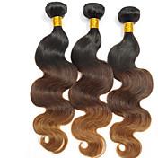 人間の髪編む ブラジリアンヘア ナチュラルウェーブ 3個 ヘア織り