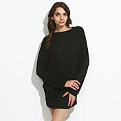 Mujer Simple Casual/Diario / Tallas Grandes Primavera Camiseta,Escote Redondo / Escote en U Un Color Manga Larga Algodón Negro / Gris Fino