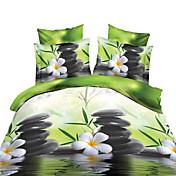 bedtoppings掛け布団羽毛布団掛け布団カバーの4本セットクイーンサイズフラットシート枕カバー3dのランダムパターンは、マイクロファイバー生地を印刷します