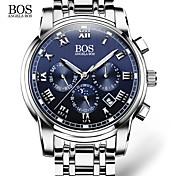 AngelaBOS Hombre Reloj de Vestir Reloj de Moda Reloj de Pulsera Cuarzo Calendario Acero Inoxidable Banda Casual Blanco Blanco Negro Azul