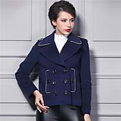 女性 お出かけ 冬 ソリッド ジャケット,ストリートファッション シャツカラー ブルー ナイロン 長袖 ミディアム