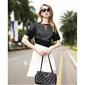 婦人向け シンプル / ストリートファッション Aライン ドレス,パッチワーク 膝上 ラウンドネック コットン