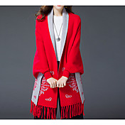 Mujer Regular Capa / Capes Tallas Grandes Casual/Diario Simple,Un Color Azul Rojo Escote Redondo Manga Larga Algodón Rayón Otoño Invierno