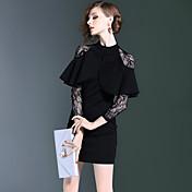 2016年秋と冬のセクシーな視点のレースの襟のステッチスリム偽2ドレス