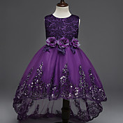vestido asimétrico de la muchacha de la flor de la princesa - cuello sin mangas de la joya del algodón con applique by ydn