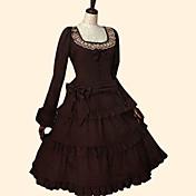 Una Sola Pieza/Vestidos Amaloli Rococó Cosplay Vestido  de Lolita Un Color Manga Larga Hasta la Tibia Vestido por Algodón