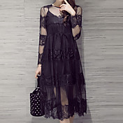 Mujer Encaje Vestido Casual/Diario Simple,Un Color Escote Redondo Midi Manga Larga Negro Rayón Otoño Tiro Medio Rígido Medio