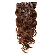 実体波栗茶色で人間の髪の毛の拡張子ブラジルのバージンヘアクリップで70〜100グラムクリップ