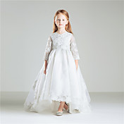 姫の床の長さフラワーガールのドレス - 綿3/4長袖宝石の首