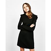 ヨーロッパの冬の底入れスカートスリムドレスは袖ホーンをフラウンス付き