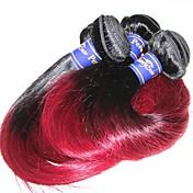 El pelo humano virginal peruano 10a teje la venta mezclada recta de seda de la longitud 3pieces 300g de la porción para una cabeza color1b
