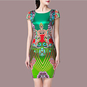 Dame Vintage I-byen-tøj Plusstørrelser Skede Kjole Trykt mønster,Rund hals Over knæet Uden ærmer Grøn Polyester Sommer Alm. taljede