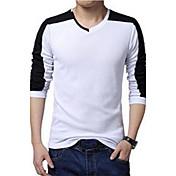 男性用 プレイン / カラーブロック カジュアル / プラスサイズ Tシャツ,長袖 コットン,ブラック / ホワイト / グレー