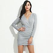 Mujer Corte Bodycon Vestido Casual/Diario Sexy / Vintage,Un Color Escote en V Profunda Sobre la rodilla Manga Larga Azul / Gris Algodón
