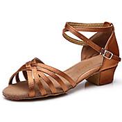 Zapatos de baile(Negro Oro Marrón Oscuro) -Latino-Personalizables-Tacón Cuadrado