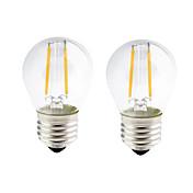 2W E26/E27 Bombillas de Filamento LED G45 2 COB 200 lm Blanco Cálido Regulable AC 100-240 AC 110-130 V 2 piezas
