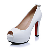 Mujer-Tacón Robusto-Zapatos del club-Tacones-Oficina y Trabajo Vestido Fiesta y Noche-Microfibra-Negro Rojo Blanco