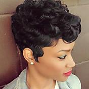 黒い髪の短い指の波は黒人女性2017用のキャップレス人間の髪の毛のかつらをヘアスタイル